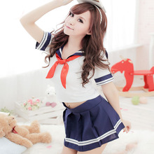 Japanese School Uniform Class Girl Maid Sailor Navy Red Scarf Cosplay Escolar Japones Costume Dolly Skirt Fashion Full Set(China)
