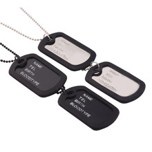 Fashion Military Army Style Black Four-Row Letter Double-Row Dog Tags Chain Mens Pendant Necklace Men Link Chain 368884