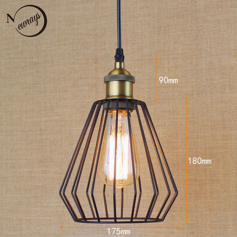 Hardware Lighting lights Loft retro black Industrial metal wire ball pendant lamp illumination For Kitchen/bar coffee lights<br>