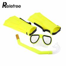 Relefree 3PCS/Lot Children Silicone dry Snorkel Mask Swimming Goggles Diving Underwater Scuba Masks Snorkel Diving Fins Set(China)
