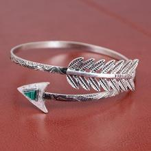 Punk Vintage Arrow Leaves Bangle Cuff Bracelet pulseras Alloy Silver Color Classic Leaf Feather Bangles Jewelry For Women