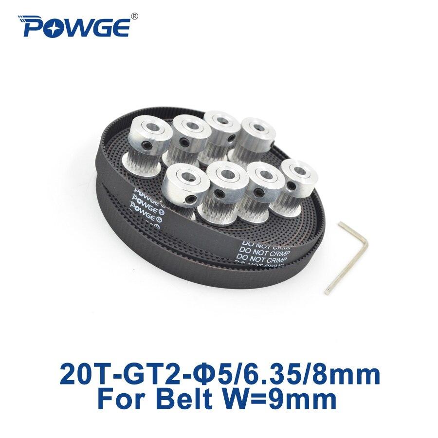 POWGE 8pcs GT2 Synchronous Pulley 20 teeth Bore 5mm 6.35mm 8mm + 5Meters width 9mm GT2 Open Belt 2GT pulley belt20Teeth 20T<br>