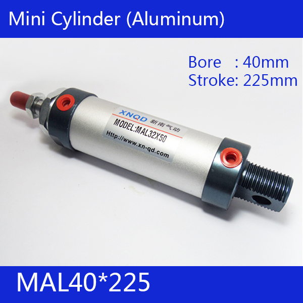 Free shipping barrel 40mm Bore225mm Stroke  MAL40*225 Aluminum alloy mini cylinder Pneumatic Air Cylinder MAL40-225<br>