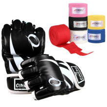 MMA Gloves boxing handwraps punching mitts black Red adult fighting boxing gloves sport cotton hand wraps kicking equipment set(China)