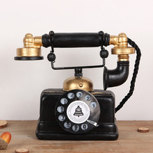 Do the old vintage resin decoration antique telephone Home Furnishing Bar Cafe Table Decoration shooting props