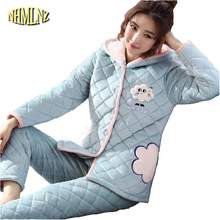 c2577cce7b Cotton Pajamas Women Winter Thick Warm Pajama Set Coral Fleece Three-layer  Quilted Flannel Females