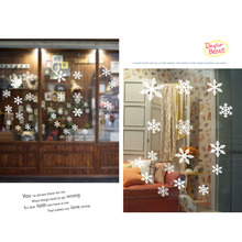Christmas Snowflake Window Clings Stickers Reusable Winter Decorations New Year Party decors 27 White(China)