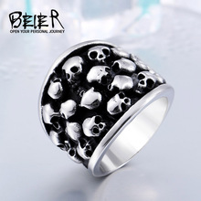 BEIER Heavy Metal Fashion Lots Biker Skull Accessories Stainless Steel Exaggerated Ring Personality Big Jewelry BR8-247(China)