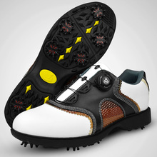 2016 patent Golf Shoes Mens Leather shoes laces send activities nail automatic revolving spikes breatheble golf shoes 001(China)