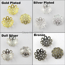 (200Pcs=1Lot ! ) Free Shipping Jewelry Finding 10MM Flower Filigree End Beads Caps Gold Silver Bronze Nickel Plated No.BC02(China)