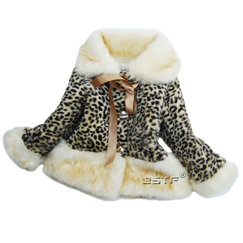 Girls leopard print coat winter fur collar wadded thickening faux overcoat children outerwear coats and jackets for children<br><br>Aliexpress