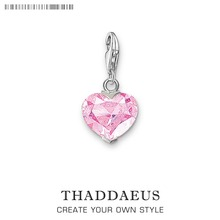 Charm Pendant Pink Heart,Thomas Accessories Club Good Jewelry For Women,2017 Ts Gift In 925 Sterling Silver Fit Bag Bracelet