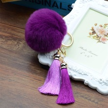 Meajoe Gold-Color Men Women Trendy Key Chain Lovely Fluffy Rabbit Fur Ball Key Chains Silk Tassel Car Key Ring Pendant Jewelry(China)