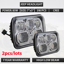 Pair of silver Fog lamp 85W/70W LED H/L headlight 5x7 7x5 led offroad lamp used for Wrangler JK TJ Truck DHL free shipping(China)