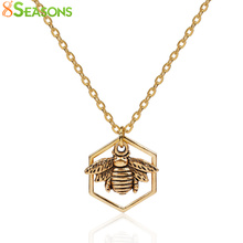 "8SEASONS Women Fashion Jewelry Necklace Gold color & Antique Gold Color Honeycomb Bee Hollow 45cm(17 6/8"") long, 1 Piece"