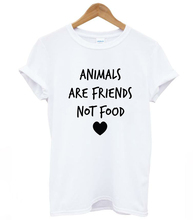 ANIMALS ARE FRIENDS not food Letters Print Women tshirt Cotton Casual Funny t shirts For Lady Top Tee Hipster Drop Ship Z-386(China)
