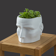 Creative white ceramic pots succulents pots nordic personality face vase abstract human head flower pot without flower