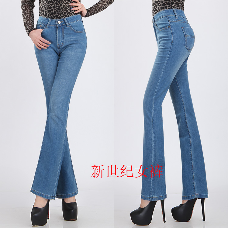 free shipping Spring autumn high waist blue bell-bottom denim jeans pants thin slim ol casual women pants plus size availableОдежда и ак�е��уары<br><br><br>Aliexpress