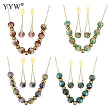 Lampwork Jewelry Sets earring & necklace Stainless Steel 2.5lnch extender chain gold color plated chain & for woman Sold By Set