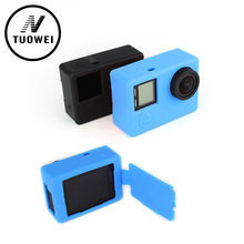 For GoPro Accessories Silicone Dustproof Gel Rubber Protective Case Skin Cover 2 Colors for GoPro Hero 4 3+3 Camera Accessories
