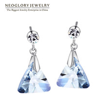 Neoglory Blue Authentic Austrian Crystal Charm Dangle Drop Earrings For Women Gifts Girl Friend Fashion Jewelry 2017 New JS9(China)