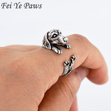 Drop Shipping Vintage Love Dachshund Dog Ring Anel Animal Sausage Dog Boho Ring Brass Knuckles Rings For Men Women Fashion