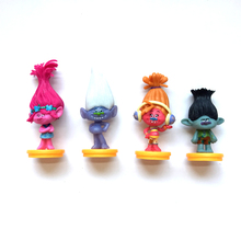 4Pcs Set Movie Trolls 7cm Height Action Figures Toys Cake Topper Kids Birthday Gift Kids Adults Finished Goods Toys(China)