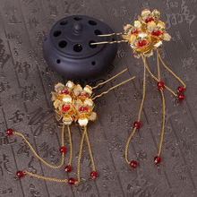 1 Pair Traditional Metal Flower Bridal Hair Pin Clip Classic Chinese Hairpins Women Red Beads Hair Chain Wedding Head Piece
