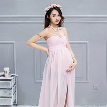 summer formal wedding party pink chiffon evening chinese dress fashion for pregnant women clothing photo shoot red long dresses(China)