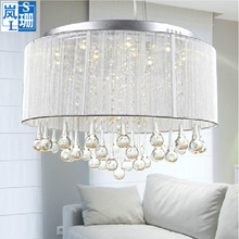 MAMEI Free Shipping Indoor Modern Crystal Chandelier With Silver Lamp Shade And Rain Drop Decoration CE And FCC Certificate(China)