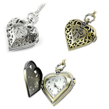 Elegant Hollow Heart Shape Quartz Fob Pocket Watch With Sweater Chain Necklace Gift for Women Girls LXH(China)