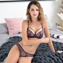 Buy red lace sexy underwear women push bra set Plus Size B C D cup Thin cotton comfortable Brassiere lacy Lingerie set