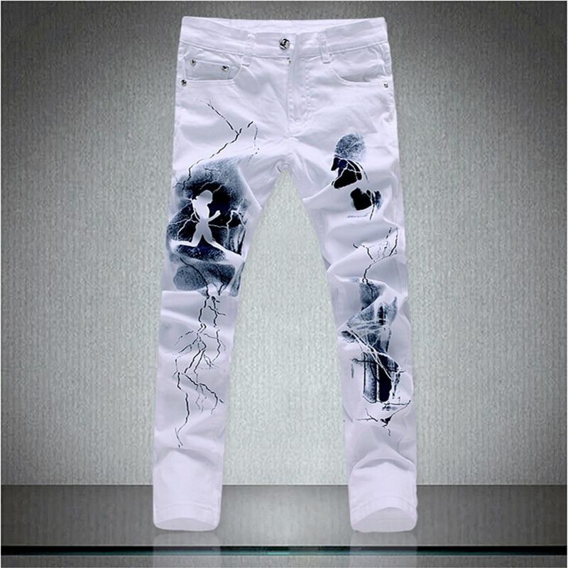 High Quality Pure Cotton White Jeans Mens  Jeans Plus Size 29-40 3 D Printing Men Slim  Fit  Jeans Casual TrousersÎäåæäà è àêñåññóàðû<br><br>