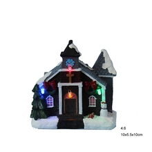 "4"" Flashing LED Light Christmas Decoration Polyresin Church Village houses Christmas Holiday Gifts lot of 2"