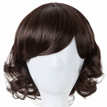 Child Wig Fei-Show Synthetic Heat Resistant Fiber Short Curly Hairpiece Inclined Bangs Brown Hair for 50 CM Head Circumference