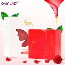 OMY LADY Pure natural Rose essential oil Rose petals Handmade Soap Whitening Moisturizing anti-aging Cleansing deep Bath Soap(China)