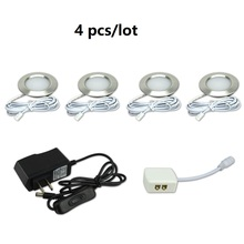 4pcs 12V 68mm LED Under Cabint Dome Light Kitchen Warm white cool white free for a 220v adpter(China)