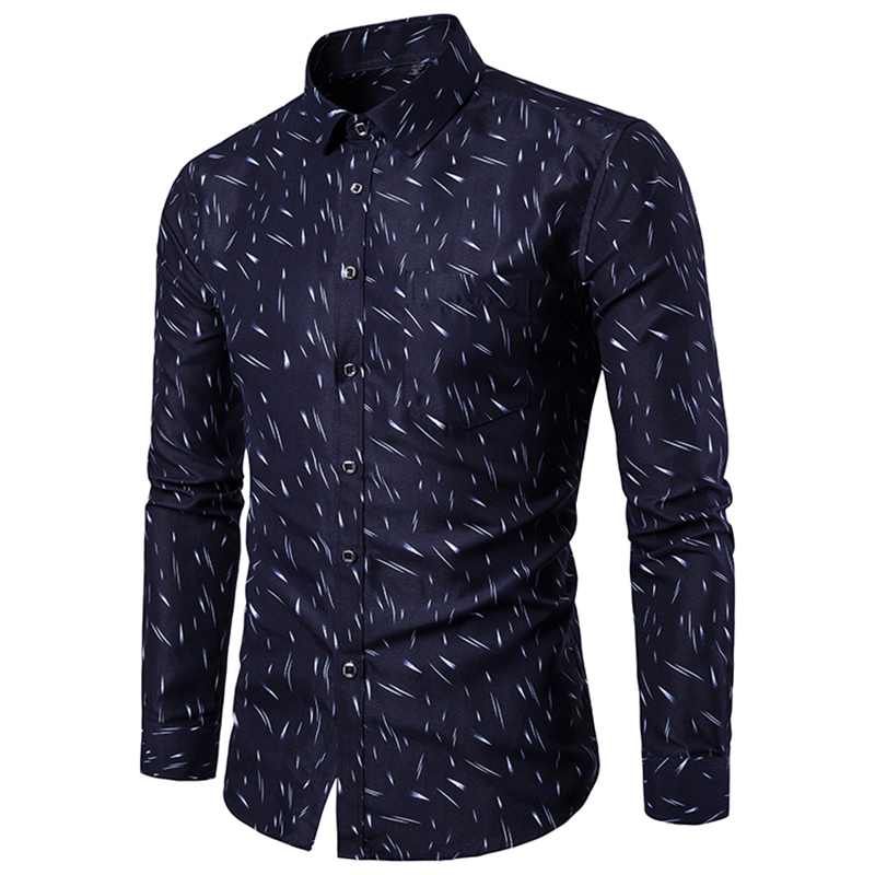 18 Shirt Men Printing Long Sleeves Shirt Camisa Masculina Men Slim Fit Casual Dress Shirt Brand Cotton Male Shirt 5XL 7