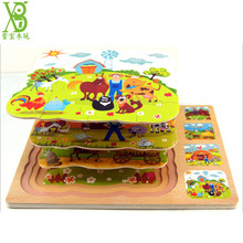 XB 4pcs/Set Wooden Cartoon Story Puzzles Toy Multi-layer Farm Jigsaw Puzzle Rabbit& Turtle Wolf Story Learning Toys 22*30cm -48