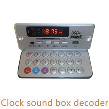 Electronics clock Loudspeaker box  decoding board DIY USB/SD FM AUX decoder module support breakpoint memory MD07