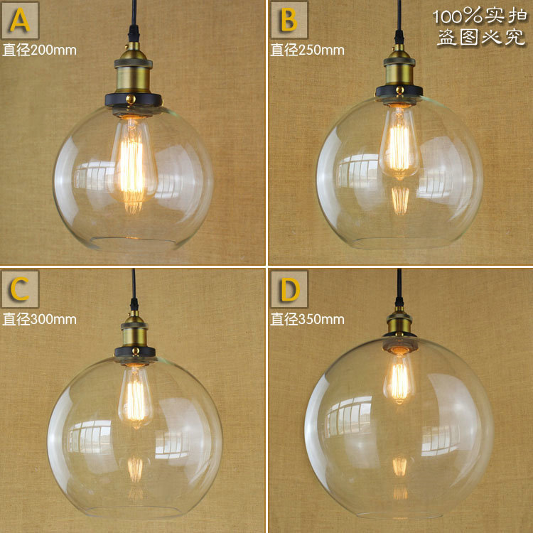 American Rural Industrial Vintage Personality Glass Chandelier Loft Retro Fashion Round Restaurant Pendant Lamp Free Shipping<br>