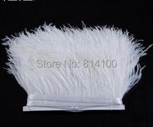 5yards/lot 8-10cm White colors Ostrich Feather Plumes Fringe trim Feather Boa Stripe for Party Clothing Accessories Craft(China)
