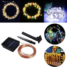 Solar Power String Light Waterproof LED Strip 10m 100 LED Copper Wire lamp Warm White For Outdoor Christmas decoration lights