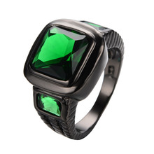Big Square Zircon Rhinestone Ring Classic Jewelry Black Gold Filled Green Finger Rings For Female Male Aneis Feminino RB0459