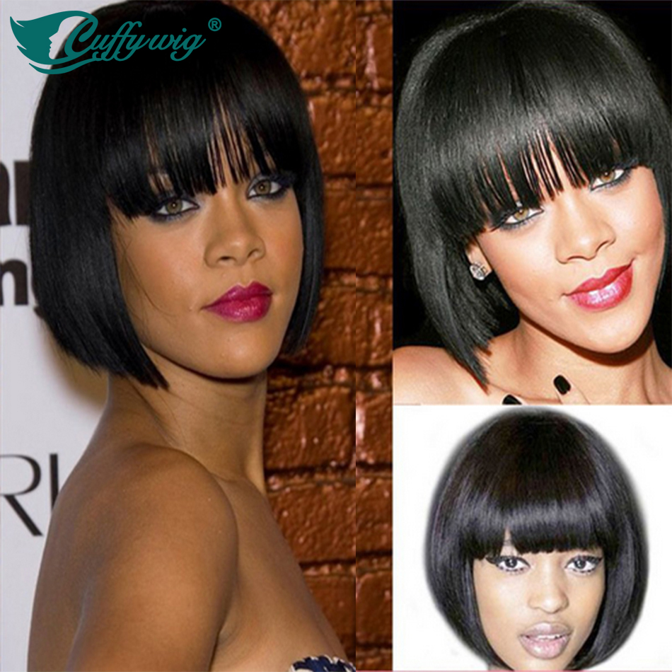 Brazilian Virgin #1Jet Black Human Hair Full Lace Short Bob Wig For Black Women Glueless Full Lace Human Hair Bob Wig With Bangs<br><br>Aliexpress