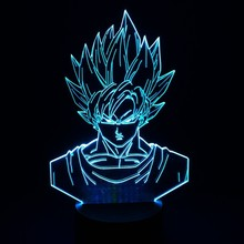 Dragon Ball Z Super Saiyan God Goku Action Figures 3D Table Lamp 7 Color Changing Night Light for Boys Kids Gifts(China)