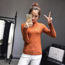 Korea 16 autumn winter female new style pure color knitted sweater lady skinny pullover long sleeve women casual common tops 017(China)