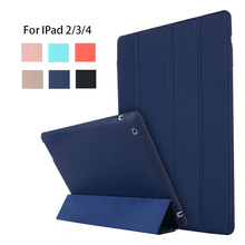 For ipad 4 Ipad 2 Case Leather Case Soft TPU Back Trifold Smart Cover Shockproof Protective Case for iPad 2/3/4