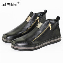 Jack Willden Men's High Top Zip Casual Flats Shoes Man Outdoor Footwear Genuine Leather Ankle Boots Mens Fashion Martin Boots
