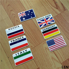 XIN-FS02 3D Aluminum car Flag sticker accessories For Russia Germany France Italy Australia US accessories car styling